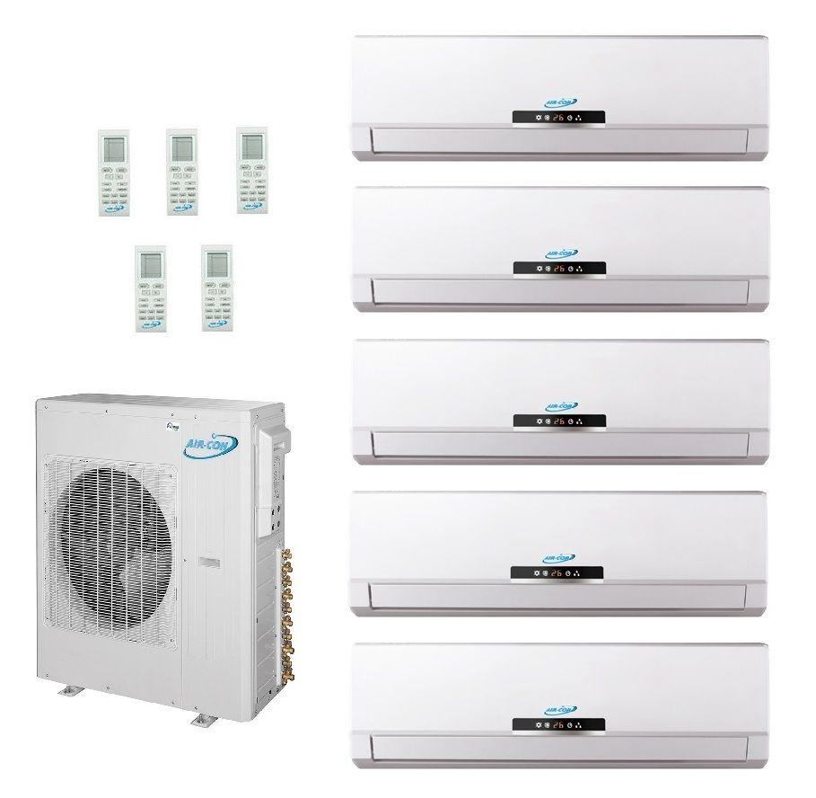 42 000 Btu Ductless Mini Split 5 X 9 000 Heat Pump Air